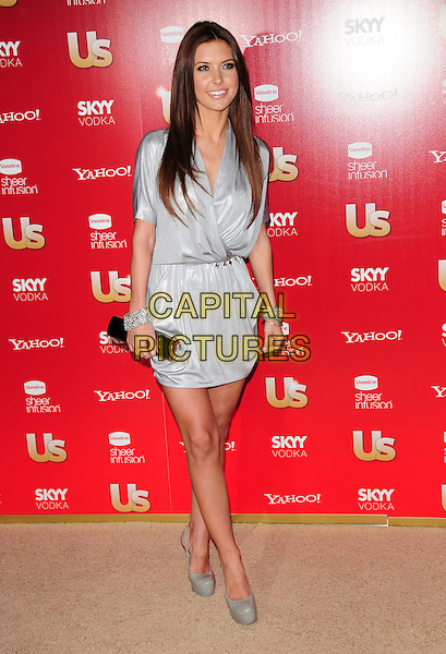 AUDRINA PATRIDGE.US Weekly's Hot Hollywood Party 2009 held at Voyeur, West Hollywood, California, USA. .November 18th, 2009.full length  silver grey gray wrap clutch bag shoes platform dress .CAP/RKE/DVS.©DVS/RockinExposures/Capital Pictures.