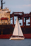 Sailboat Sloop sails past Container Ship on Charleston Harbor