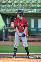 Cody Jones (3) of the Idaho Falls Chukars at bat against the Ogden Raptors in Pioneer League action at Lindquist Field on August 27, 2015 in Ogden, Utah. Ogden defeated the Chukars 4-3.  (Stephen Smith/Four Seam Images)