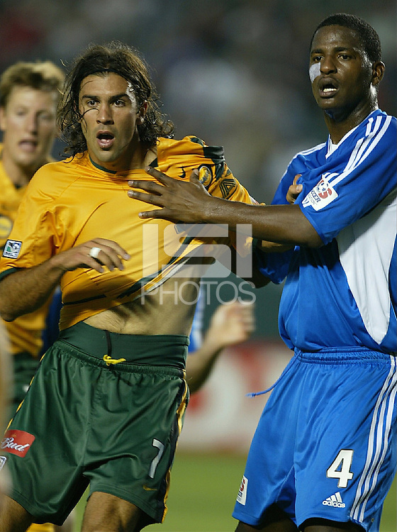 Jovan Kirovski and Shavar Thomas battle during the game where the Los Angeles Galaxy tasted defeat at home against the Kansis City Wizards. (2-1) @ the Home Depot Center in Carson Ca. 6-5-04