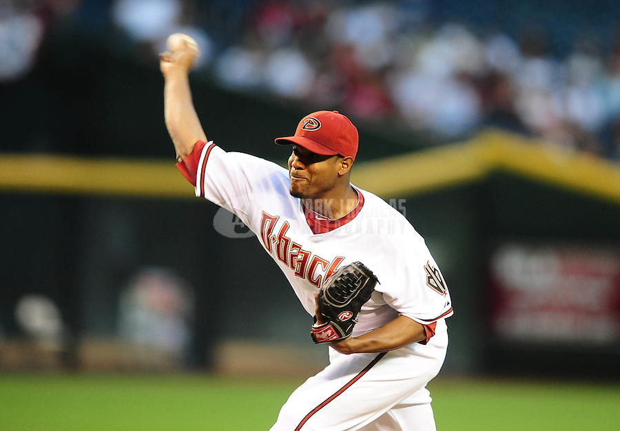Apr. 6, 2010; Phoenix, AZ, USA; Arizona Diamondbacks pitcher Edwin Jackson throws in the first inning against the San Diego Padres at Chase Field. Mandatory Credit: Mark J. Rebilas-