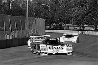 COLUMBUS, OH - OCTOBER 6: The Budweiser/Dyson Racing Porsche 962 101 driven by Price Cobb and Drake Olsen en route to victory in the Columbus Ford Dealers 500 IMSA GTP/Lights race at the temporary Columbus Street Circuit in Columbus, Ohio on October 6, 1985. (Photo by Bob Harmeyer)