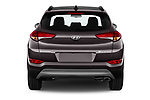 Straight rear view of a 2018 Hyundai Tucson Executive 5 Door SUV stock images