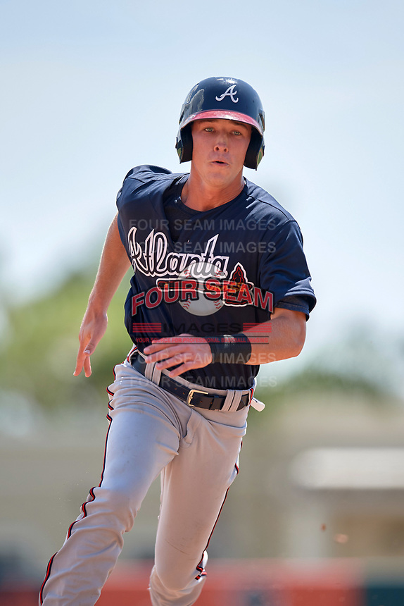 Atlanta Braves Drew Waters (13) running the bases during an Instructional League game against the Baltimore Orioles on September 25, 2017 at Ed Smith Stadium in Sarasota, Florida.  (Mike Janes/Four Seam Images)