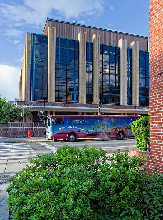 Many of the universities throughout the state are converting their bus fleets to more environmentally friendly forms of power. This bus roams the University of Pennsylvania.