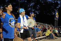 Kansas City, MO - Saturday May 28, 2016: FC Kansas City fans cheer against the Orlando Pride during a regular season National Women's Soccer League (NWSL) match at Swope Soccer Village.  Kansas City won 2-0.