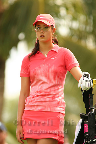 Feb 25, 2006; Kapolei, HI, USA; Michelle Wie waits to tee off during the final round at the inaugural LPGA Fields Open at Ko Olina Resort. ..Photo Credit: Darrell Miho .Copyright © 2006 Darrell Miho