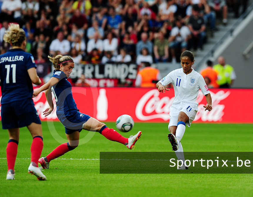 Fifa Women's World Cup Germany 2011 : England - France - at Leverkusen :  duel met Camille Abily en Rachel Yankey.foto DAVID CATRY / Vrouwenteam.be