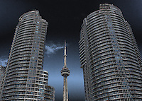 Toronto downtown view of the CN Tower bordered by two buildings