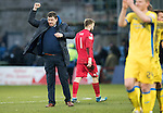 Ross County v St Johnstone&hellip;18.02.17     SPFL    Global Energy Stadium, Dingwall<br />Tommy Wright punches the air at full time<br />Picture by Graeme Hart.<br />Copyright Perthshire Picture Agency<br />Tel: 01738 623350  Mobile: 07990 594431