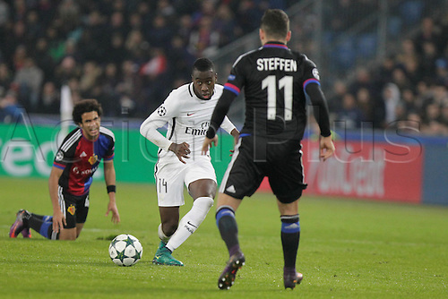 01/11/2016. Basel, Switzerland. Blaise Matuidi (Paris Saint Germain) in action during the champions league match against FC Basel Paris Saint Germain at St. Jakob Park in Basel, Switzerland