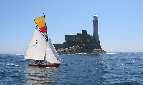 1898 Howth 17 Leila (Roddy Cooper) rounds the Fastnet Rock