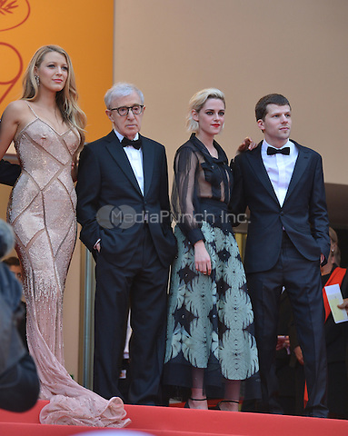 Blake Lively, director Woody Allen, Kristen Stewart and Jesse Eisenberg at &quot;Cafe Society&quot; &amp; Opening Gala arrivals - The 69th Annual Cannes Film Festival, France on May 11, 2016.<br /> CAP/LAF<br /> &copy;Lafitte/Capital Pictures /MediaPunch ***NORTH AND SOUTH AMERICAN SALES ONLY***