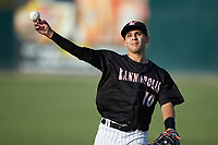 Nick Madrigal (10) of the Kannapolis Intimidators warms up in the outfield prior to the game against the Hagerstown Suns at Kannapolis Intimidators Stadium on July 16, 2018 in Kannapolis, North Carolina. The Intimidators defeated the Suns 7-6. (Brian Westerholt/Four Seam Images)