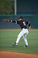 AZL White Sox second baseman Jose Rodriguez (5) throws home during an Arizona League game against the AZL Padres 2 on June 29, 2019 at Camelback Ranch in Glendale, Arizona. The AZL Padres 2 defeated the AZL White Sox 7-3. (Zachary Lucy/Four Seam Images)