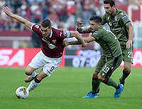 27th October 2019; Olympic Grande Torino Stadium, Turin, Piedmont, Italy; Serie A Football, Torino versus Cagliari; Fabio Pisacane of Cagliari holds Andrea Belotti of Torino FC - Editorial Use