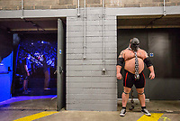 """England's Strongman competitor Eddie """"The Beast"""" Hall stands backstage as the crowd awaits his grand entrance at the Europe's Strongest Man competition, held at The First Direct Arena in Leeds one April 1st, 2017.<br /> Eddie """"The Beast"""" Hall has won UK's Strongest Man six times in a row, and currently holds the coveted title of World's Strongest Man."""