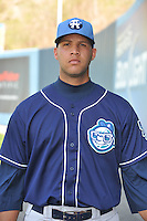 Albert Campos #37 of the Asheville Tourists poses during media day at McCormick Field on April 4, 2011 in Asheville, North Carolina.  Photo by Tony Farlow / Four Seam Images..