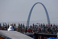 Sep 28, 2013; Madison, IL, USA; The St. Louis Arch is visible behind the grandstands during NHRA qualifying for the Midwest Nationals at Gateway Motorsports Park. Mandatory Credit: Mark J. Rebilas-