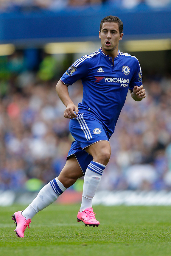 Chelsea's Eden Hazard in action during todays match  <br /> <br /> Photographer Craig Mercer/CameraSport<br /> <br /> Football - Barclays Premiership - Chelsea v Swansea City - Saturday 8th August 2015 - Stamford Bridge - London<br /> <br /> &copy; CameraSport - 43 Linden Ave. Countesthorpe. Leicester. England. LE8 5PG - Tel: +44 (0) 116 277 4147 - admin@camerasport.com - www.camerasport.com