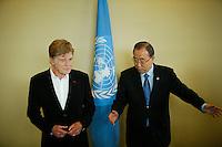 American actor Robert Redford (L) meets U.N. Secretary-General Ban Ki-moon before his address on climate change at U.N. headquarters in New York.  06/29/2015. Eduardo MunozAlvarez/VIEWpress