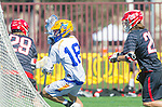 Santa Barbara, CA 04/16/16 - Alex Dixon (UCSB #18) and Kipp Planchard (Chapman #26) in action during the final regular MCLA SLC season game between Chapman and UC Santa Barbara.  Chapman defeated UCSB 15-8.