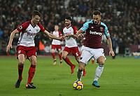 West Ham United's Marko Arnautovic and West Bromwich Albion's Jonny Evans<br /> <br /> Photographer Rob Newell/CameraSport<br /> <br /> The Premier League - West Ham United v West Bromwich Albion - Tuesday 2nd January 2018 - London Stadium - London<br /> <br /> World Copyright &copy; 2018 CameraSport. All rights reserved. 43 Linden Ave. Countesthorpe. Leicester. England. LE8 5PG - Tel: +44 (0) 116 277 4147 - admin@camerasport.com - www.camerasport.com
