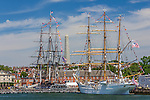 The U. S. Coast Guard Barque Eagle and the USS Constitution in the Charlestown Navy Yard, Boston, Massachusetts, USA