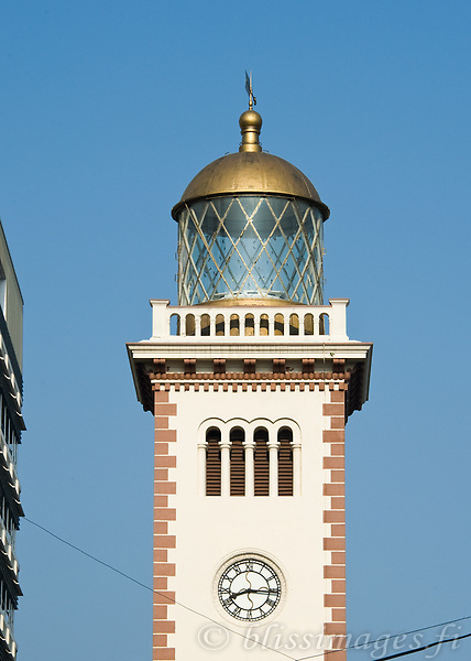 The Clock Tower Light in downtown Colombo, Sri Lanka has been deactivated since it has been obscured by nearby highrise buildings.