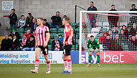 Lincoln City's Grant Smith, right, reacts after Stevenage's Ilias Chair scored his side's second goal<br /> <br /> Photographer Chris Vaughan/CameraSport<br /> <br /> The EFL Sky Bet League Two - Lincoln City v Stevenage - Saturday 16th February 2019 - Sincil Bank - Lincoln<br /> <br /> World Copyright © 2019 CameraSport. All rights reserved. 43 Linden Ave. Countesthorpe. Leicester. England. LE8 5PG - Tel: +44 (0) 116 277 4147 - admin@camerasport.com - www.camerasport.com