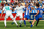 Deportivo Alaves' Burgui (c-r) and Manu Garcia (r) and Real Madrid's Carlos Henrique Casemiro (l) and Lucas Vazquez during La Liga match. September 23,2017. (ALTERPHOTOS/Acero)