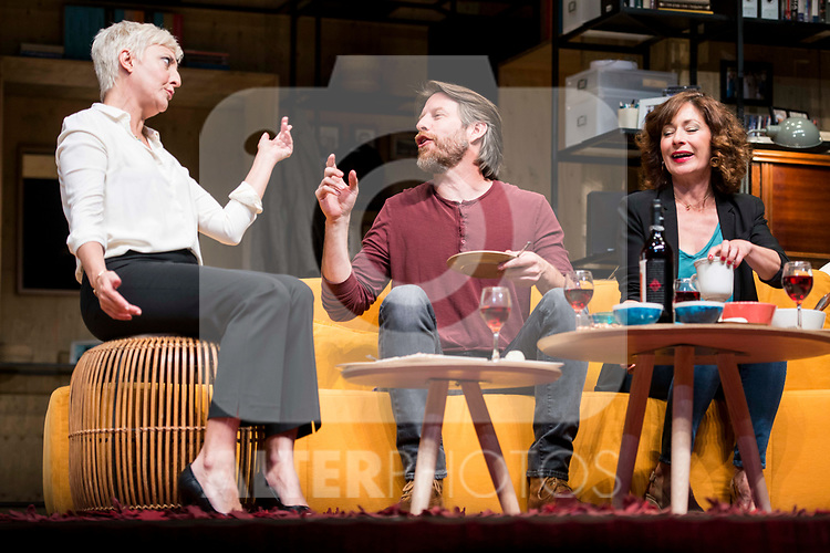 Eva Hache, Andrew Tarbet and Maria Lanau during theater play of &quot;Los vecinos de arriba&quot; at Teatro Circulo de Bellas Artes in Madrid, April 25, 2017. Spain.<br /> (ALTERPHOTOS/BorjaB.Hojas)
