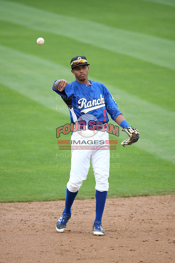 Erick Mejia (9) of the Rancho Cucamonga Quakes makes a throw during a game against the Lake Elsinore Storm at LoanMart Field on April 10, 2016 in Rancho Cucamonga, California. Lake Elsinore defeated Rancho Cucamonga, 7-6. (Larry Goren/Four Seam Images)