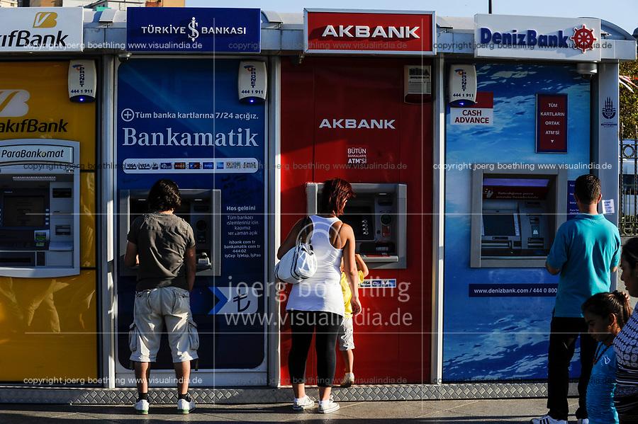 TURKEY Istanbul,  ATM machines of AK bank, Deniz Bank / TUERKEI Istanbul, Geldautomaten turkischer Banken