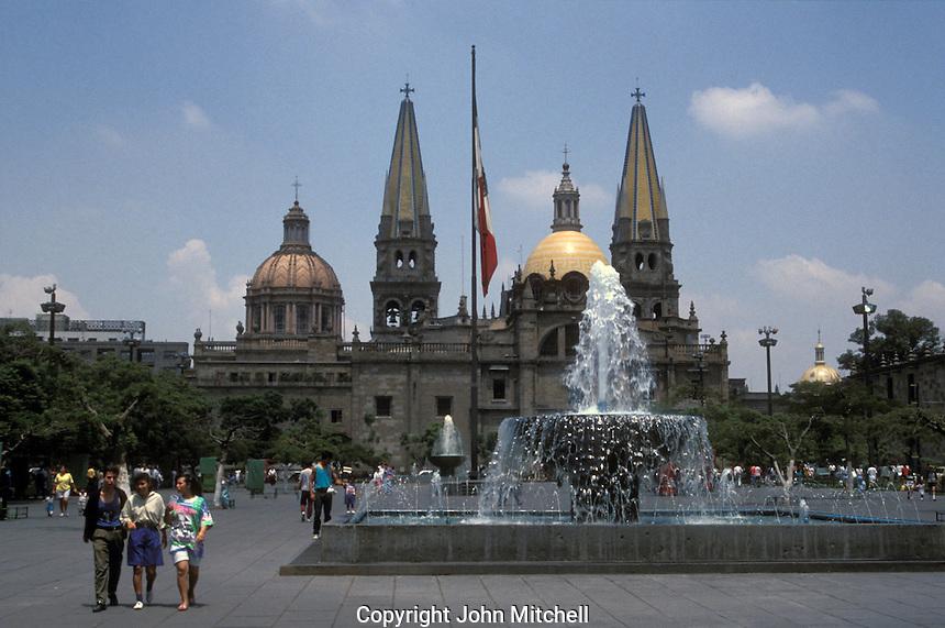 The Plaza de la Liberacion and cathedral in downtown Guadalajara, Mexico
