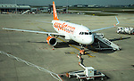 Easyjet plane at London Stansted airport, Essex, England, UK