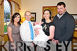 Baby Aine Herlihy, Glenflesk, pictured with her parents Donal and Karen and godparents Maura O'Connor and Martin O'Connor at her christening celebrations in Darby O'Gills Hotel, Killarney on Saturday.