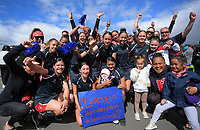 Henderson players celebrate winning the netball final between Henderson Intermediate and Whakatane Intermediate. Day six of the 2019 AIMS games at Blake Park in Mount Maunganui, New Zealand on Friday, 13 September 2019. Photo: Dave Lintott / lintottphoto.co.nz