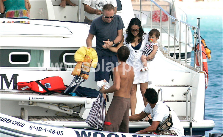 ** ALL ROUND EXCLUSIVE PICTURES FROM SOLARPIX.COM**.**UK MAGAZINE PUBLICATION ONLY**.**UK SYNDICATION RIGHTS ONLY**.Mexican actress Salma Hayek  & partner François-Henri Pinault & their baby daughter Valentina Paloma Pinault who celebrated her first birthday aboard this luxury cruise in Ibiza Spain. 1 October 2008..JOB REF: 7503      SPA     DATE: 01_10_2008.**MUST CREDIT SOLARPIX.COM OR DOUBLE FEE WILL BE CHARGED* *UNDER NO CIRCUMSTANCES IS THIS IMAGE TO BE REPRODUCED FOR ANY ONLINE EDITION WITHOUT PRIOR PERMISSION*