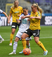 20190810 - ANDERLECHT, BELGIUM : Anderlecht's Stefania Vatafu (left) pictured in a duel with LSK's Therese Asland (r) during the female soccer game between the Belgian RSCA Ladies – Royal Sporting Club Anderlecht Dames  and the Norwegian LSK Kvinner Fotballklubb ladies , the second game for both teams in the Uefa Womens Champions League Qualifying round in group 8 , saturday 10 th August 2019 at the Lotto Park Stadium in Anderlecht  , Belgium  .  PHOTO SPORTPIX.BE for NTB NO | DAVID CATRY