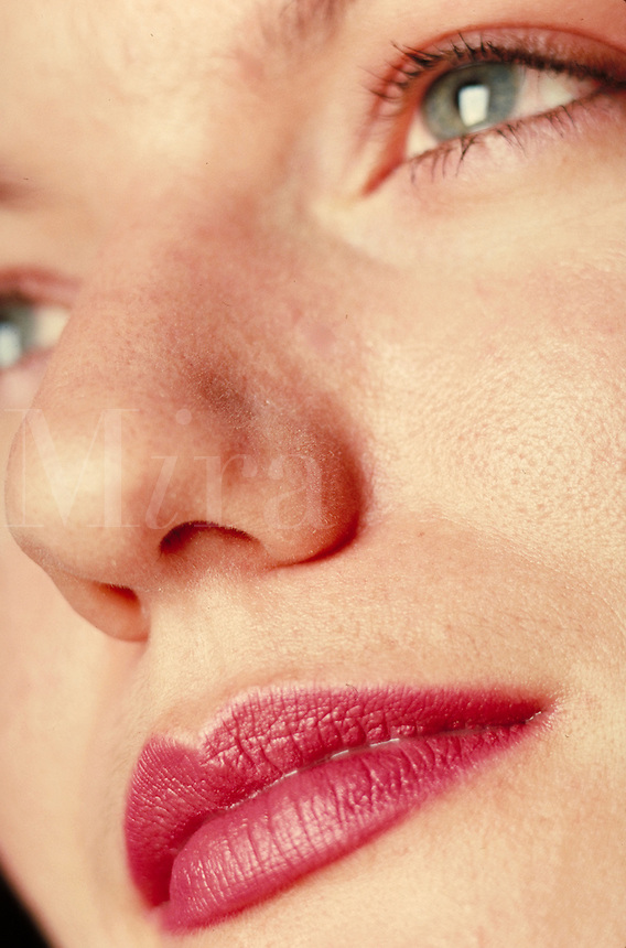 Woman's face, close-up. Woman. Douglaston NY.