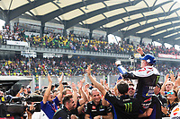 3rd November 2019; Sepang Circuit, Sepang Malaysia; MotoGP Malaysia, Race Day;  The number 12 Monster Energy Yamaha rider Maverick Vinales celebrates winning the race - Editorial Use