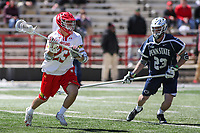 College Park, MD - April 8, 2017: Maryland Terrapins Adam DiMillo (23) looks to pass the ball during game between Penn State and Maryland at  Capital One Field at Maryland Stadium in College Park, MD.  (Photo by Elliott Brown/Media Images International)