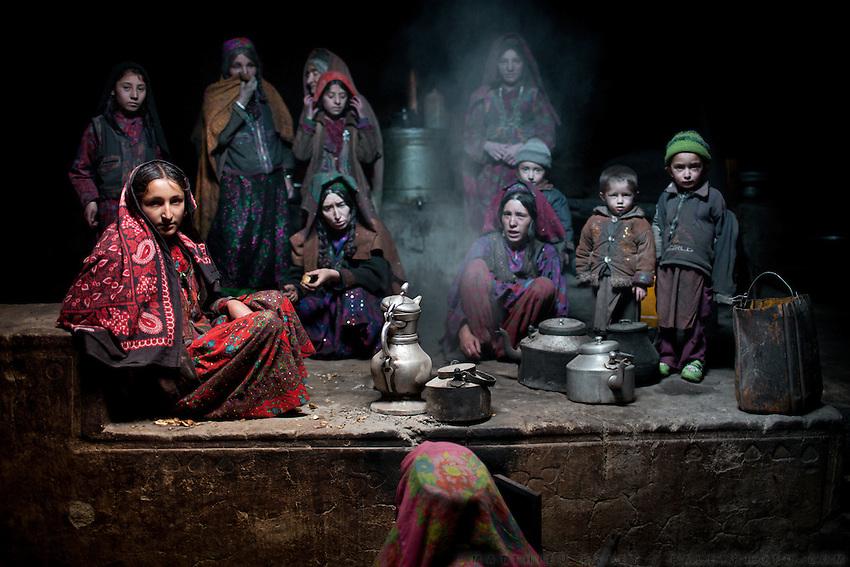 Inside a Wakhi house in Kret village, Wakhan Corridor, Afghanistan.