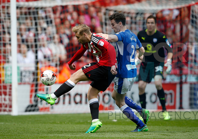 Harry Chapman of Sheffield Utd tries a shot on goal during the English League One match at  Bramall Lane Stadium, Sheffield. Picture date: April 30th 2017. Pic credit should read: Simon Bellis/Sportimage