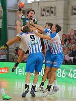 Handball, 1. Runde im DHB-Pokal 2014/ 2015: SC DHfK Leipzig vs. TV Bittenfeld 27:25 (12:11) am 20.08.2014 in der Ernst-Grube-Halle Leipzig. Im Bild: Lukas Binder (#11, Leipzig).