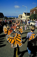 ANNUAL PARADE TO GREET THE RETURN OF THE MONARCH BUTTERFLIES. ELEMENTARY SCHOOL KIDS. PACIFIC GROVE CALIFORNIA USA.