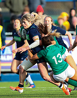 2nd February 2020; Energia Park, Dublin, Leinster, Ireland; International Womens Rugby, Six Nations, Ireland versus Scotland; Hannah Smith (Scotland) attempts to get through the tackles of Sene Naoupu (Ireland) and Michelle Claffey (Ireland)