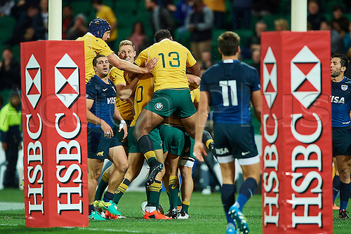 17.09.2016. Perth, Australia.  Samu Kerevi of the Qantas Wallabies celebrates a try during the Rugby Championship test match between the Australian Qantas Wallabies and Argentina's Los Pumas from NIB Stadium - Saturday 17th September 2016 in Perth, Australia.