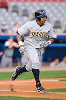 Jose Tabata (57) of the Trenton Thunder hustles down the first base line versus the Connecticut Defenders at Dodd Stadium in Norwich, CT, Tuesday, June 3, 2008.
